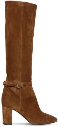 Saint Laurent 75mm Lou Suede High Boots