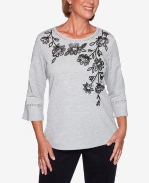 Alfred Dunner Women's Missy Knightsbridge Station Cascade Floral Bell Sleeve Top