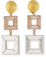 Oscar de la Renta Wrapped Double-Square Drop Earrings