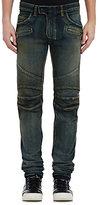 Balmain Men's Classic Straight-Leg Biker Jeans-BLUE