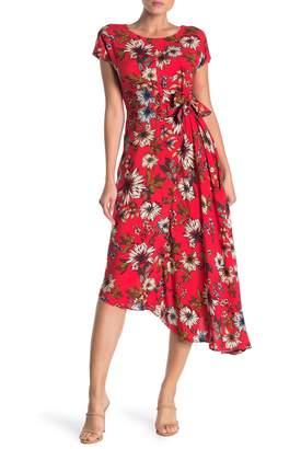 Donna Morgan Floral Print Asymmetrical Hem Stretch Crepe Dress