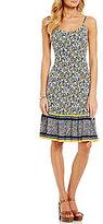 MICHAEL Michael Kors Celia Border Floral Print Ruffle Hem Tank Dress