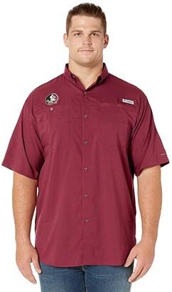 Columbia College Big Tall Florida State Seminoles Collegiate Tamiamitm II Short Sleeve Shirt (Cabernet) Men's Short Sleeve Button Up