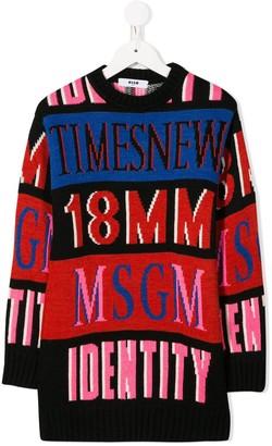 Msgm Kids Striped Intarsia Knit Jumper