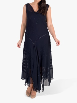 Chesca Beaded Cowl Neck Dress, Navy