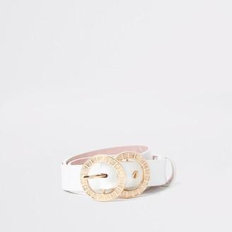 River Island Womens White RI double ring buckle belt