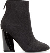 Proenza Schouler Black Felted Wool Ankle Boots