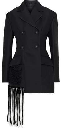 Proenza Schouler Double-breasted Fringed Twill Blazer