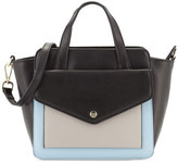 Neiman Marcus Peyton Small Leather Satchel Bag, Black/Mink Gray/Powder Blue