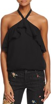 Alice + Olivia Monet Ruffled Silk Halter Top