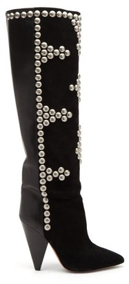Isabel Marant Lyork Studded Suede And Leather Knee-high Boots - Black