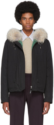 Yves Salomon Army Black Down and Fur Puffer Jacket