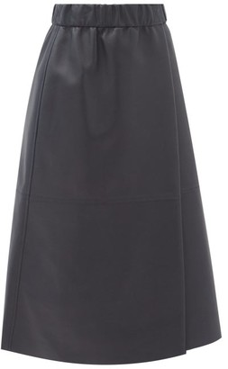 Acne Studios Leilani Elasticated-waist Leather Wrap Skirt - Navy