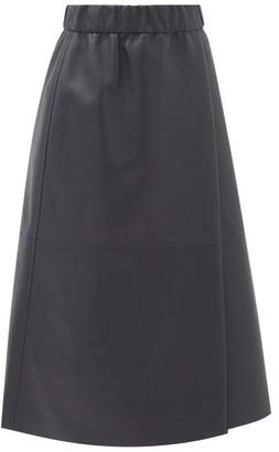 Acne Studios Leilani Elasticated-waist Leather Wrap Skirt - Navy