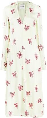 Jil Sander floral-embroidered V-neck dress