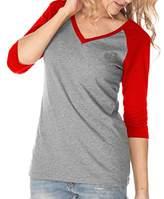 Kavio! Junior Sheer Jersey Contrast V Neck Raglan 3/4 Sleeve M