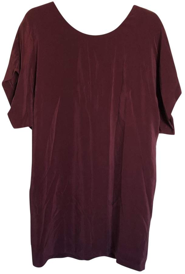 Ikks Burgundy Silk Dress for Women