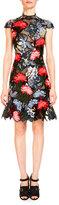 Erdem Hetty Floral-Embroidered Cap-Sleeve Dress, Black/Multi