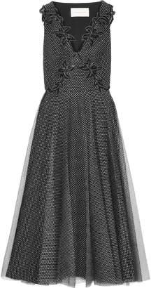 Christopher Kane Embellished Metallic Tulle Midi Dress