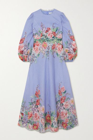 Zimmermann Bellitude Floral-print Linen Maxi Dress - Light blue