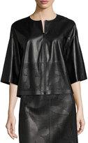 Lafayette 148 New York Sabina Laser-Cut Leather Jacket, Black