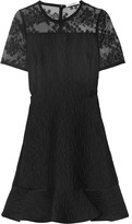Carven Embroidered organza-paneled cloqué mini dress