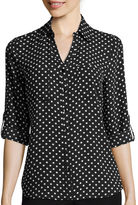 BY AND BY by&by 3/4-Sleeve Button-Front Polka Dot Shirt