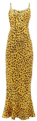 Saloni Mimi B Leopard-print Fluted-hem Silk Slip Dress - Leopard