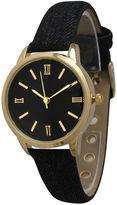 OLIVIA PRATT Olivia Pratt Womens Gold-Tone Black Denim Faux Leather Strap Watch 14086