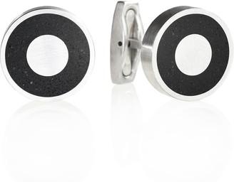 Gravelli Aim Concrete & Surgical Steel Cufflinks Anthracite