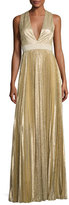 Alice + Olivia Sleeveless Pleated Metallic Gown, Light Gold