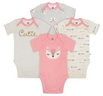 Just Born Organic Baby Girl Bodysuits, 4-Pack