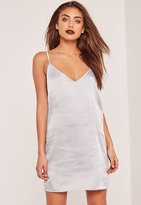 Missguided Silky Cami Dress Silver