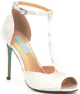 Betsey Johnson Blue by Sadie Satin Ankle Strap Peep Toe Dress Sandals