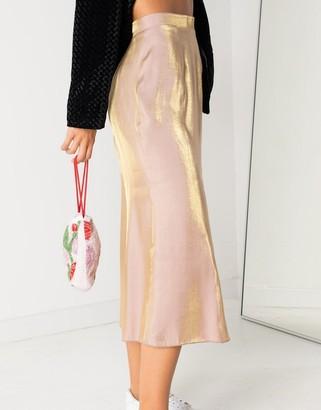 Daisy Street midi skirt in iridescent