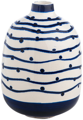 Abigails Vase Navy Wave With Dots