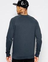 Asos Sweatshirt With Crew Neck And Raglan Sleeves In Navy