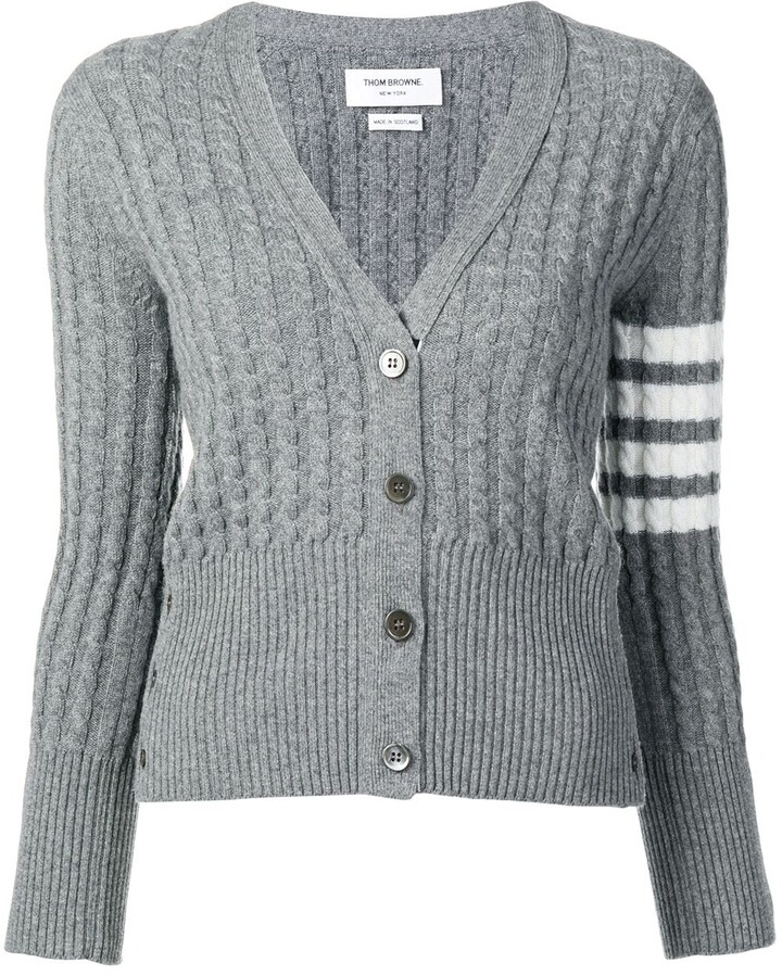 Thom Browne 4 Bar stripe cable knit cardigan ShopStyle