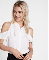 Express Ruffle Cold Shoulder Shirt