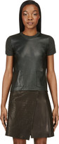 Calvin Klein Collection Deep Green Leather & Cashmere Michelle T-Shirt