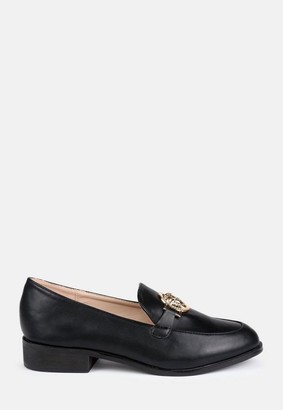 Missguided Faux Leather Gold Trim Loafers