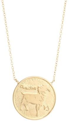 Jennifer Zeuner Jewelry Sylas 14K Gold Vermeil Capricorn Medallion Necklace