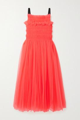 Molly Goddard Grosgrain-trimmed Shirred Tulle Midi Dress - Bright pink