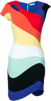 Thierry Mugler rainbow wave (Blue) bodycon dress - women - Polyester/Acetate/Viscose - 38