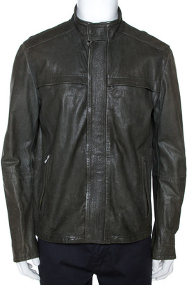 Armani Collezioni Dark Green Nappa Leather Jacket XL