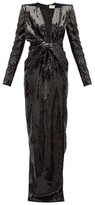 Saint Laurent Bow Plunge-neck Sequinned Gown - Womens - Black