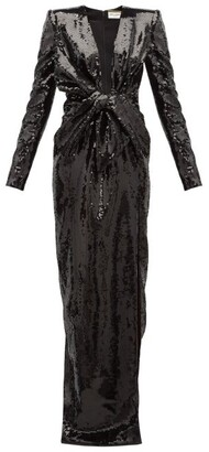 Saint Laurent Bow Plunge-neck Sequinned Gown - Black