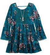 Knitworks Girls 7-16 Floral Crushed Velvet Tiered Dress & Necklace Set