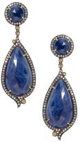 Artisan Blue Sapphire & 2.42 Total Ct. Diamond Drop Earrings