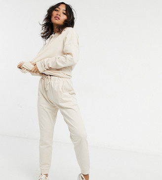 ASOS DESIGN Petite tracksuit hoodie / slim trackies with tie in organic cotton in cream